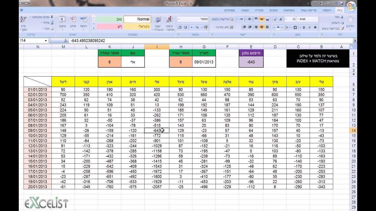 לימוד אקסל שיעור 22 - שילוב נוסחאות / פונקציות INDEX + MATCH