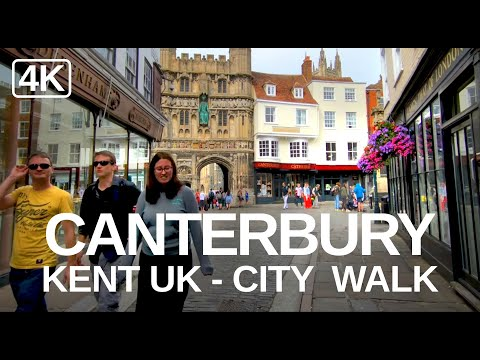 [4K]  Canterbury cathedral & city, England virtual walk