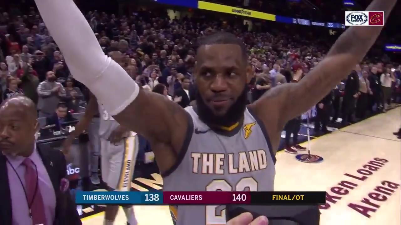 5b27e843abaf Cleveland Cavaliers celebrate LeBron James buzzer-beater vs. Timberwolves