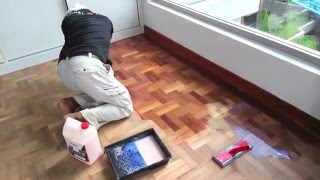 How to refinish old hardwood parquet floor step by step using Drum belt Sander
