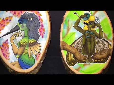 Wood Nymph Twins Illustration ~ Watercolor on Wood - Speed Paint