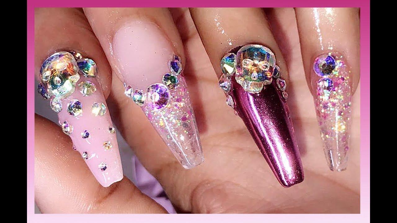 my halloween acrylic nails pink sugar skulls