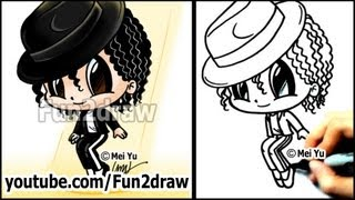 Michael Jackson Cartoon Drawing Lesson - How to Draw People Tutorial