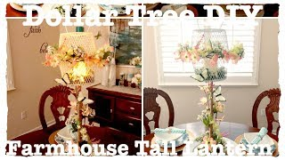 DOLLAR TREE DIY FARMHOUSE TALL LANTERN CENTERPIECE HOME DECOR WEDDING BRIDAL SHOWER RUSTIC GARDEN PA