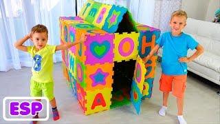 Vlad y Nikita construyen casas de juego de colores