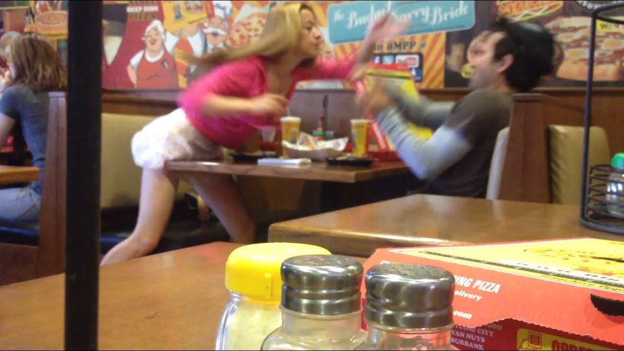 Girl flashing in restaurant - 1 part 1