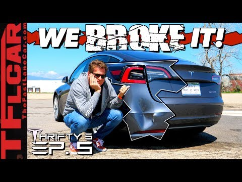 We Crashed Our Brand New Tesla & You Won't Believe How Much It Will Cost To Fix! Thrifty 3 Ep. 5