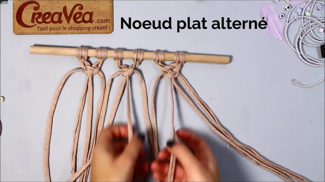 comment faire le noeud plat alterné - macramécreavea - youtube