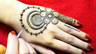 Shaded Flower Stylish Mehndi Design for Backhands |Thought of Creation