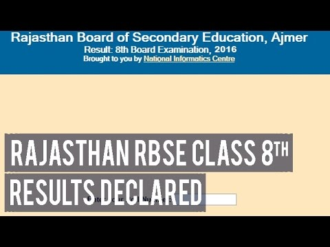 Rajasthan rbse class 8th results declared youtube malvernweather