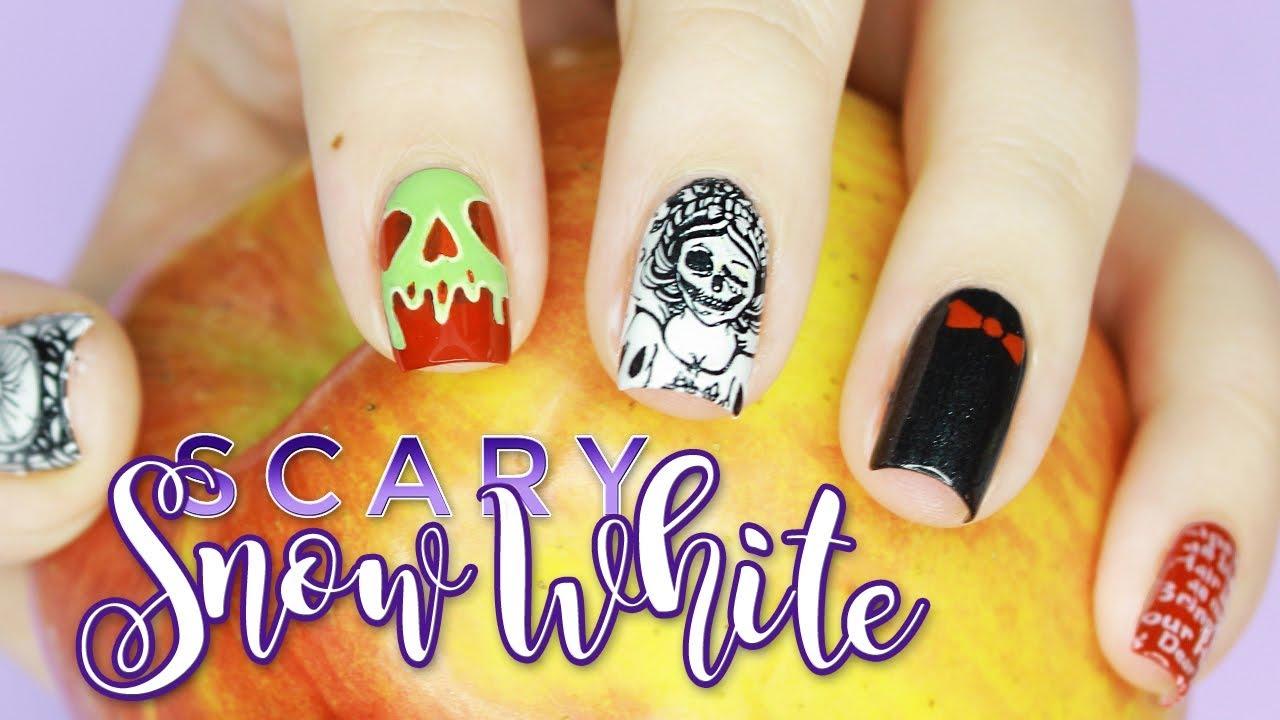 Skeleton Snow White and The Scary Adventures | Halloween Nail Art ...