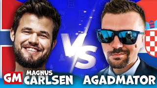 Magnus Carlsen Comments on the Only Game with Agadmator While He is Playing! CARLSEN vs AGADMATOR
