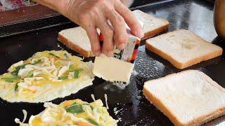 천원짜리 할머니 토스트 (career 40 years! $1 egg toast 1,000KRW) korean street food / 회기역 1번출구