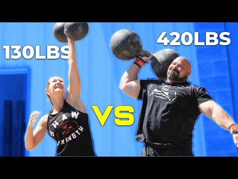 420LB MAN VS WIFE | WHO'S STRONGER?  *CROSSFIT/STRONGMAN*