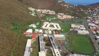 9/17/17 Aerial Footage Loop around Hospital Grounds St Thomas after Hurricane Irma