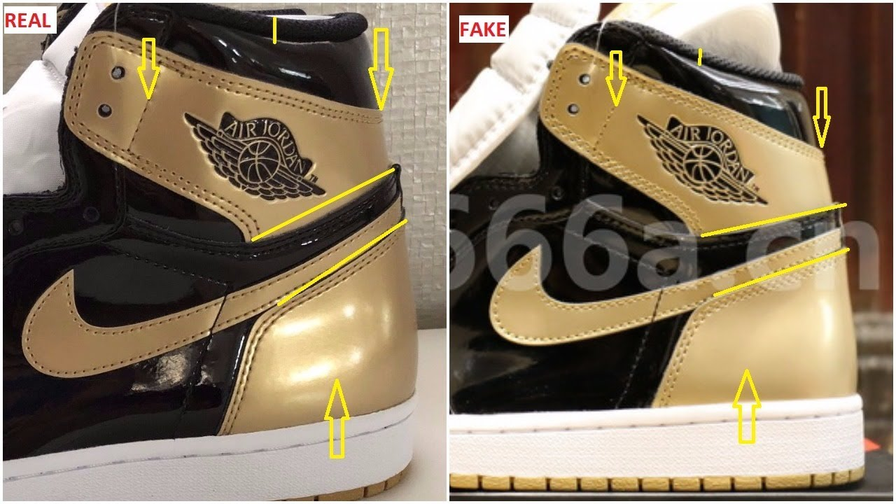 b85a1d638dec5 Fake Air Jordan 1 Gold Top 3 Complexcon Spotted- Quick ways To identify Them