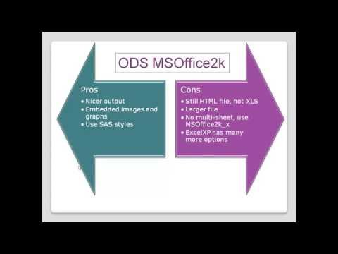 Hooking Up SAS And Excel - Part 4 -  ODS CSV, XML, HTML, MSOffice2k - By Colin Harris - Knoware