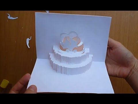 Wedding Cake Pop Up Card Tutorial YouTube – Pop Up Birthday Cake Card Template