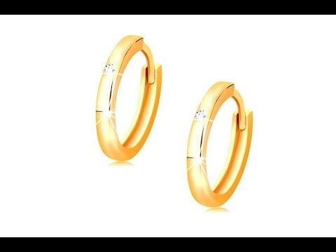 Šperky - Náušnice v žltom 14K zlate - malé krúžky zdobené čírym zirkónom 2bbb156a52d
