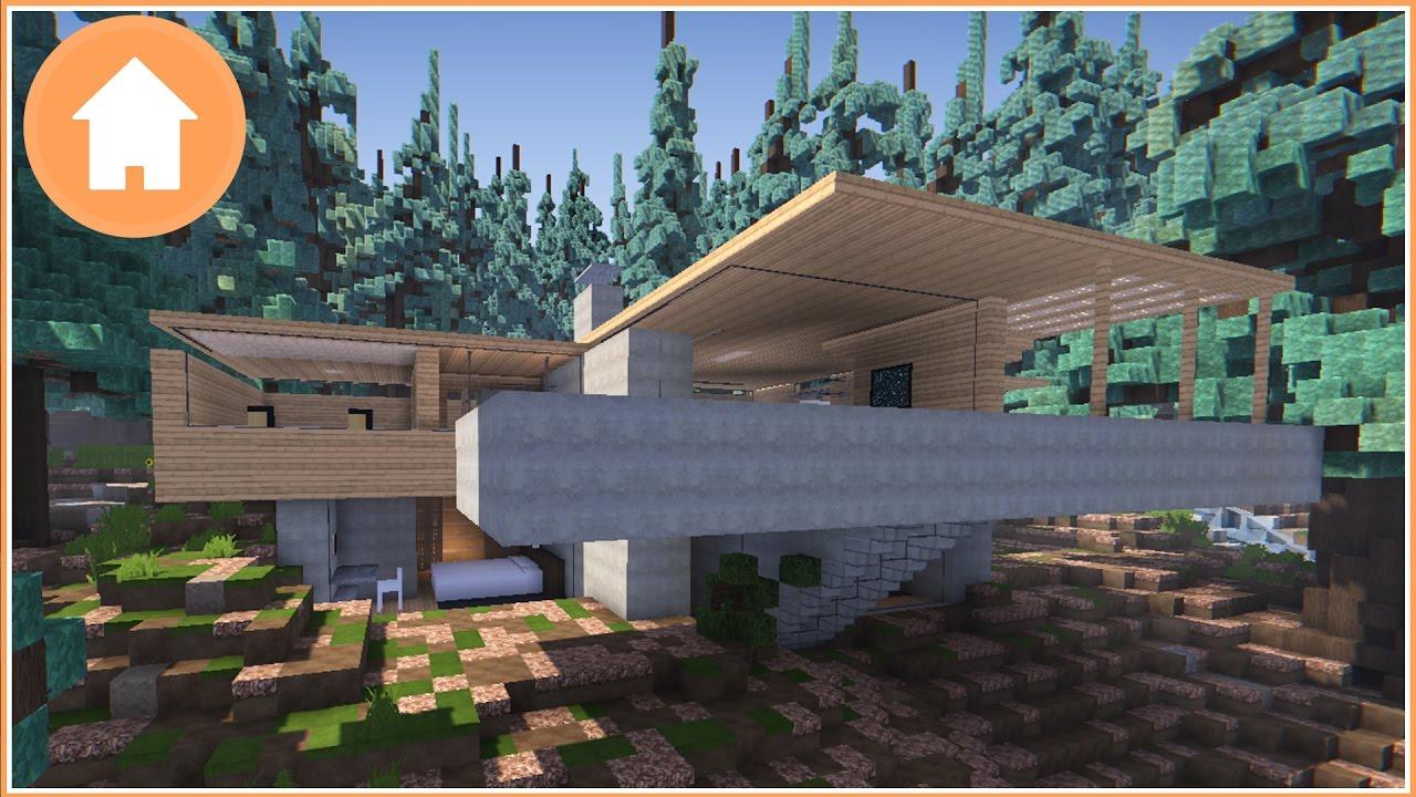 Minecraft: Modern Cliff House Design Showcase - YouTube