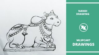 How to Draw Lord Shiva Nandi Drawing | How to Draw LORD NANDEESWARA DRAWING for kids | Draw a cow