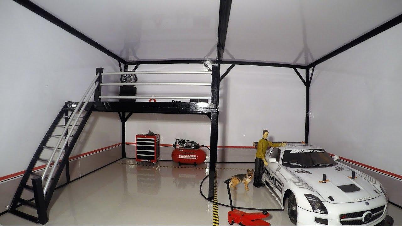 Home Made Portable Car Garage : Rc diorama garage homemade youtube