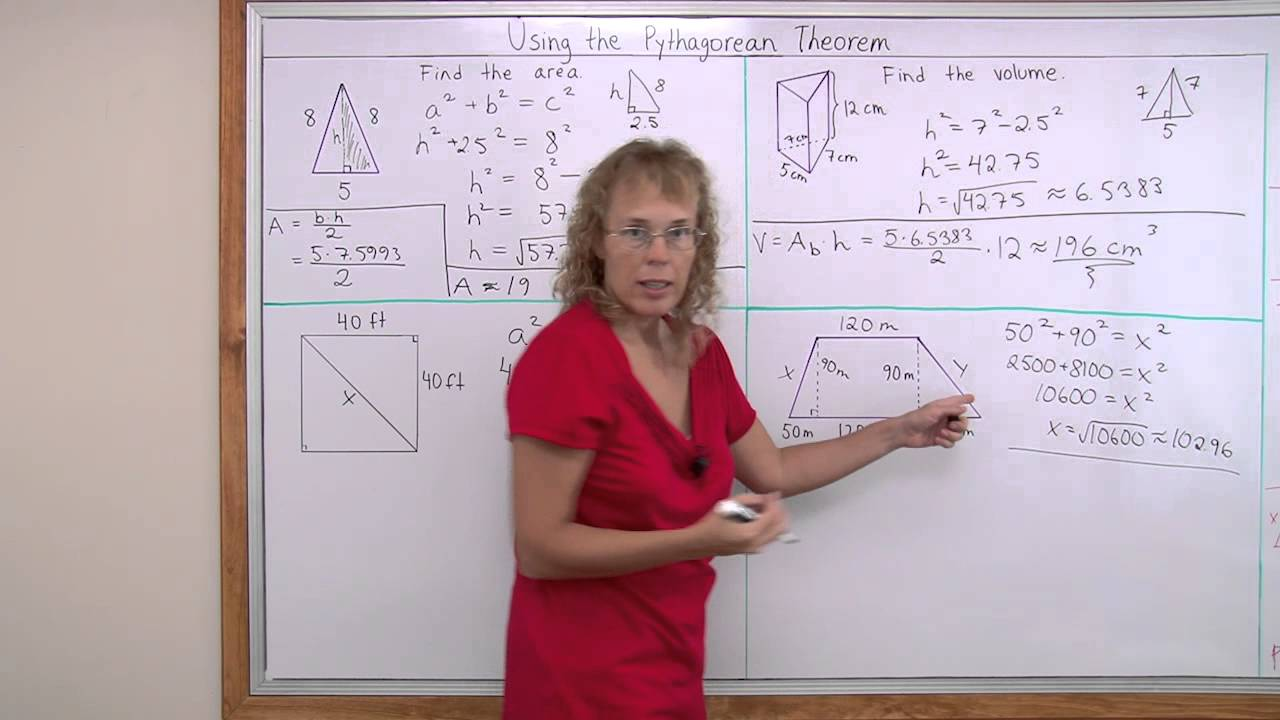 Using The Pythagorean Theorem 4: Perimeter Of A Trapezoid  Prealgebra