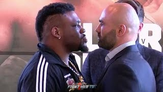 JARRELL MILLER GIVES BOGDAN MINU A DEATH STARE DURING FINAL PRESS CONFERENCE FACE OFF