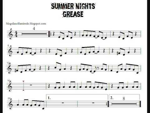 Summer Nights (Grease) Partitura Flauta