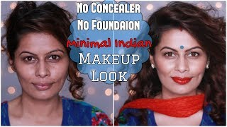 No Foundation No Concealer INDIAN HOUSEWIFE MAKEUP | Daily Makeup for Newly Weds |  | Kavya K