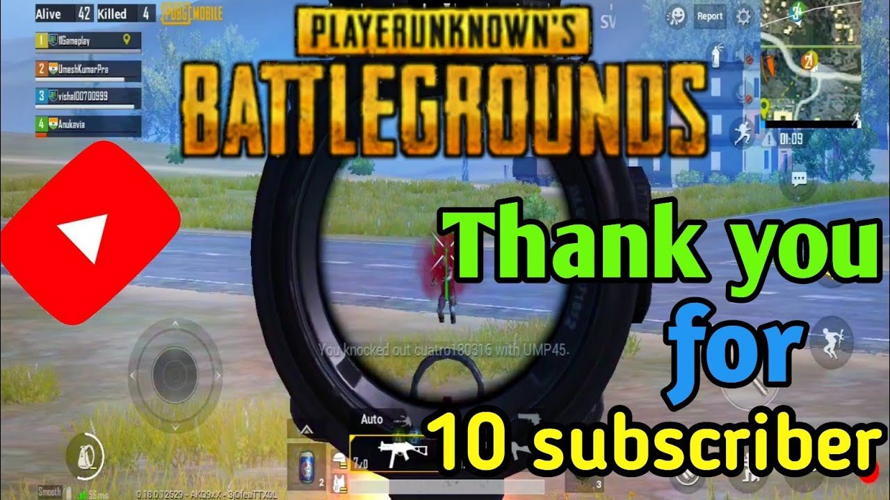 Thank you for 10 subscribers in YouTube | Gameplay | thank you everyone | Pubg+ Cod