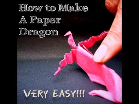 How to make an Origami Paper Dragon    Very Easy    Step-by-step tutorial    PaperBuilds    HD   