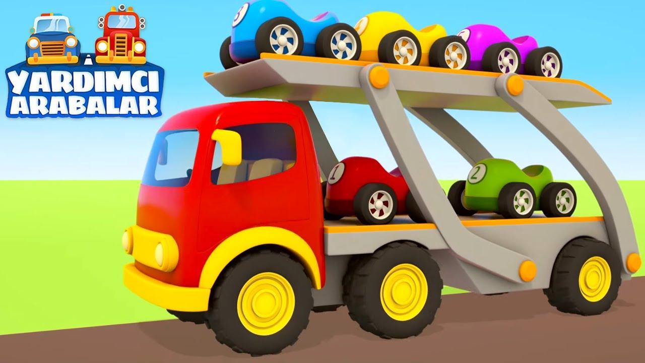 Çizgi film Türkçe izle. Yardımcı arabalar - Küçük yarış arabalarını piste götürelim!
