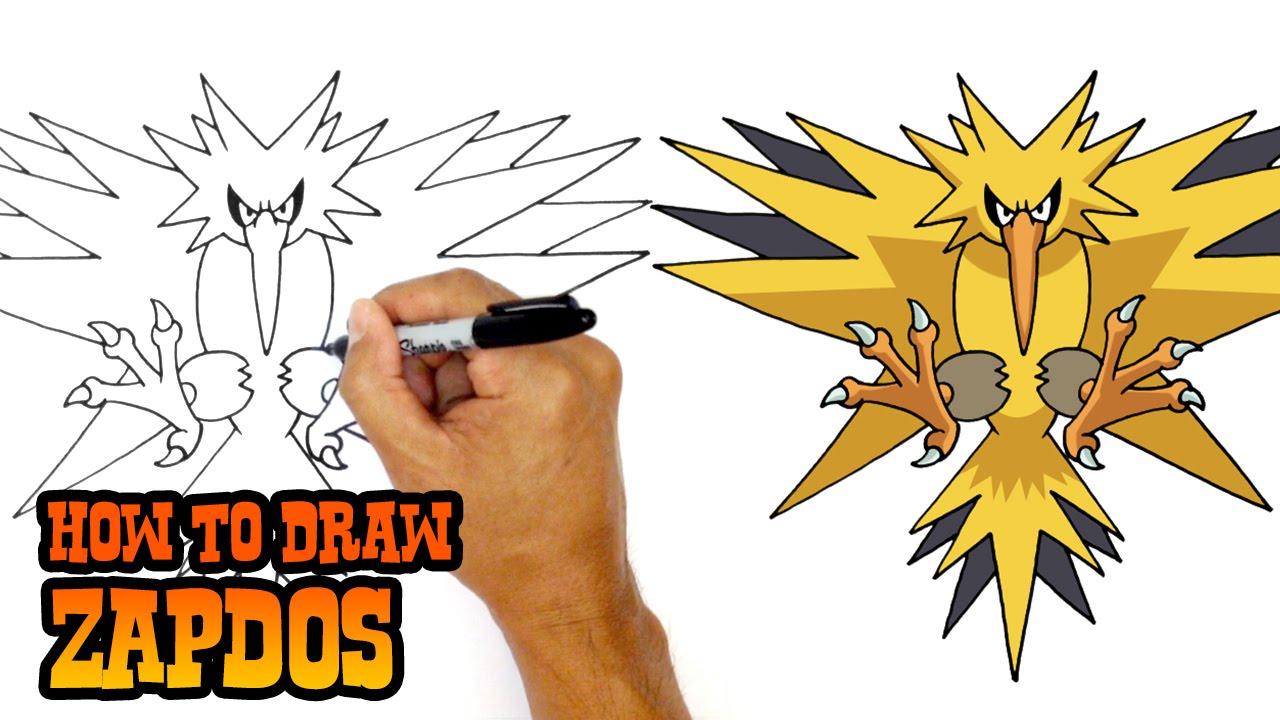 how to draw zapdos pokemon youtube