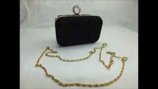 One Finger Ring Rhinestone Crystal Diamond Black Evening Clutch Purse Handbag