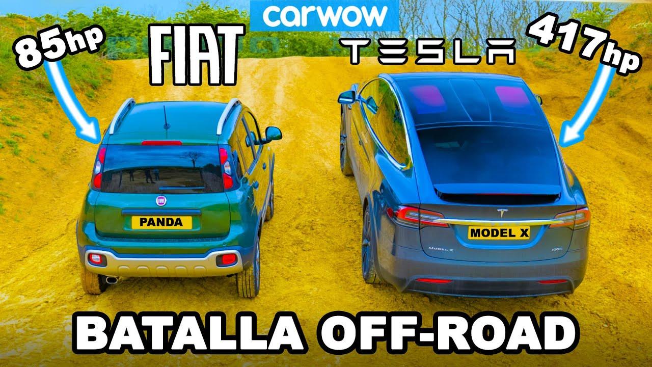 Tesla Model X vs Fiat Panda Cross: ¡ARRANCONES CUESTA ARRIBA y cuál es el mejor OFF-ROAD!