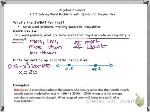 HMH2. 2.7.2 Word Problems with Quadratic Inequalities - YouTube