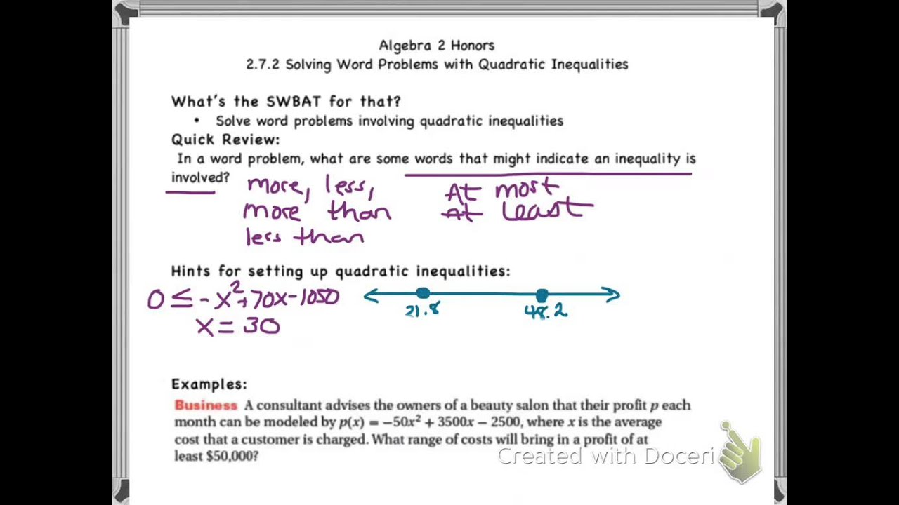 HMH2 272 Word Problems with Quadratic Inequalities YouTube – Quadratic Function Word Problems Worksheet