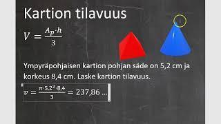 Kurssi 10: Avaruusgeometria: osa4: Kartion tilavuus
