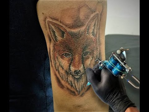 Tatuando un Zorro / Time lapse Fox tattoo - Nosfe Ink tattoo