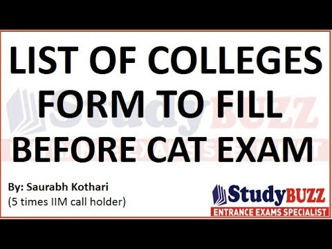 List of colleges to fill before & after CAT exam