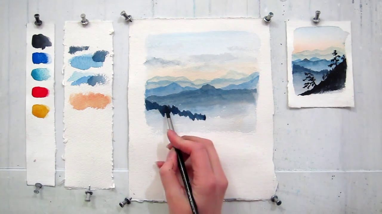 good Cool And Easy Paintings Part - 14: Easy step by step watercolor tutorial: Painting The Blue Ridge Mountains -  YouTube