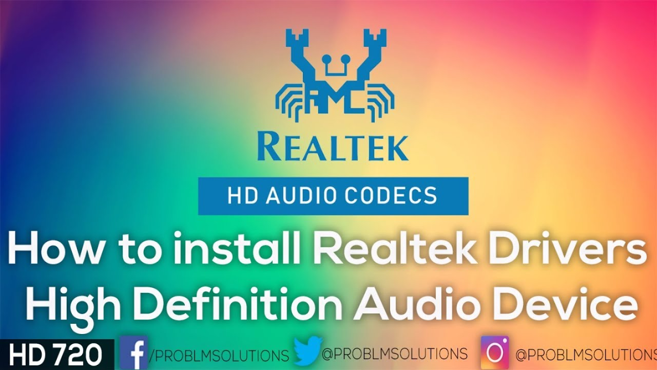 how to install realtek drivers high definition audio device youtube. Black Bedroom Furniture Sets. Home Design Ideas