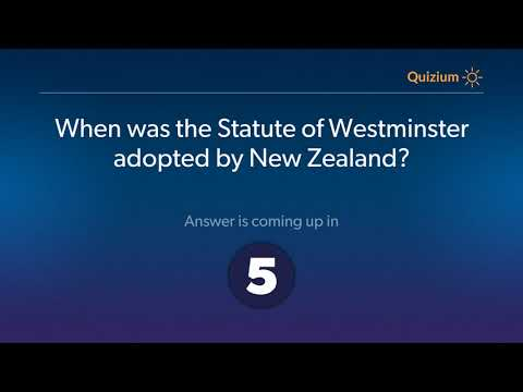 When was the Statute of Westminster adopted by New Zealand?   New Zealand Quiz