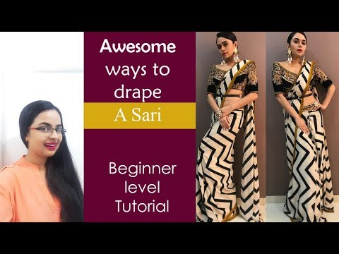 Amazing ways to drape a Sari  Easy ways for Beginners   In Hindi   English subtitles