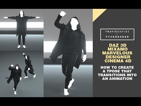 Daz, Mixamo, Marvelous Designer, Cinema 4D - Create A T-Pose That Transitions Into An Animation