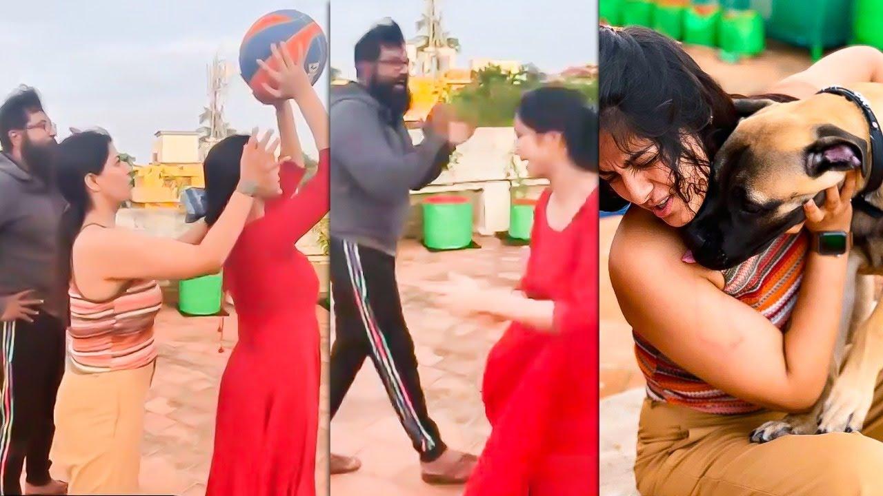 Pets உடன் கொஞ்சி விளையாடும் Varalakshmi Sarathkumar   மொட்டமாடி Basket ball