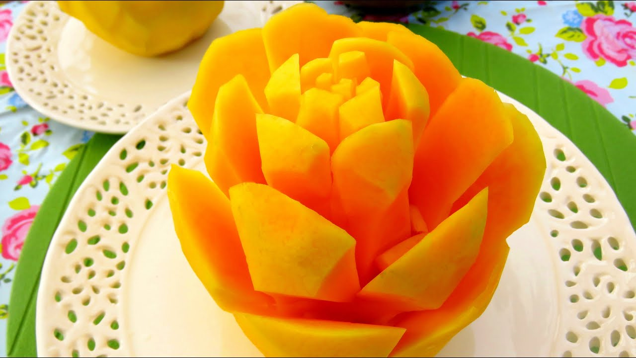 How To Cut A Mango Into Rose Flower Great Cutting Style