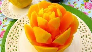 How To Cut A Mango into Rose Flower | Great Mango Cutting Style | Fruit Carving Garnish | Party Food