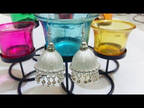 DIY : Designer Silver and White Jhumka | How to make Silk Thread Jhumka Earrings.